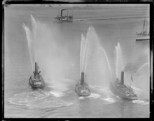 Fire boat display, Boston Harbor