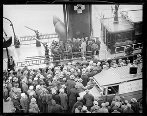 A crowd on Matthew J. Boyle Fire Dept. boat