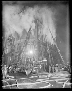 Four alarm fire on South Street, at night
