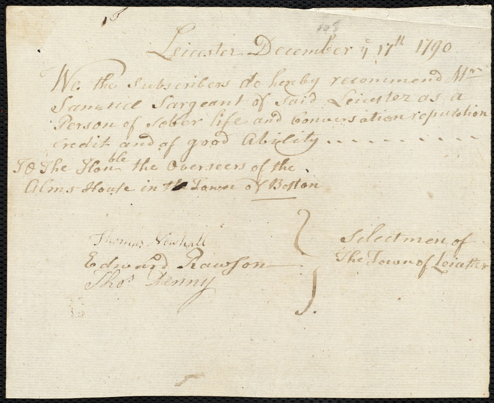 Document of indenture: Servant: Forssey, William. Master: Sargeant, Samuel. Town of Master: Leicester