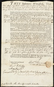 Document of indenture: Servant: Materson, Hebron. Master: Hunnewell, Richard. Town of Master: Penobscot