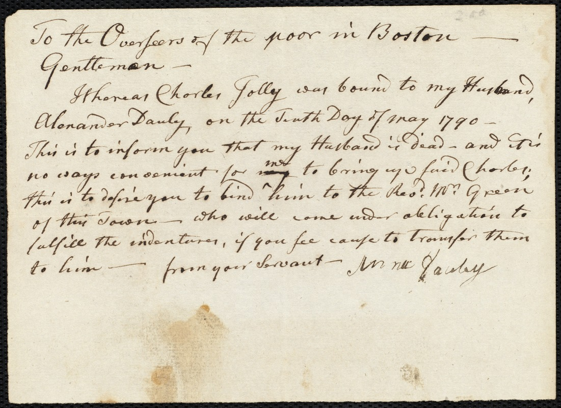 Document of indenture: Servant: Jolly, Charles. Master: Danby, Alexander. Town of Master: Mansfield. Selectmen of the town of Mansfield autograph document signed to the Overseers of the Poor of the town of Boston: Endorsement Certificate for Alexander Danby.