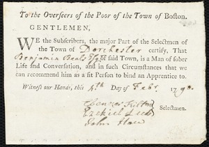 Document of indenture: Servant: Waterman, Suckey. Master: Beale, Benjamin. Town of Master: Dorchester. Selectmen of the town of Dorchester autograph document signed to the Overseers of the Poor of the town of Boston: Endorsement Certificate for Benjamin Beale.