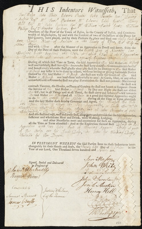 Document of indenture: Servant: Russell, Sally Cade. Master: Blunt, David. Town of Master: Andover