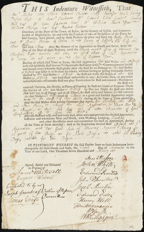 Document of indenture: Servant: Peirce, Betsy. Master: Belcher, David. Town of Master: Chelsea