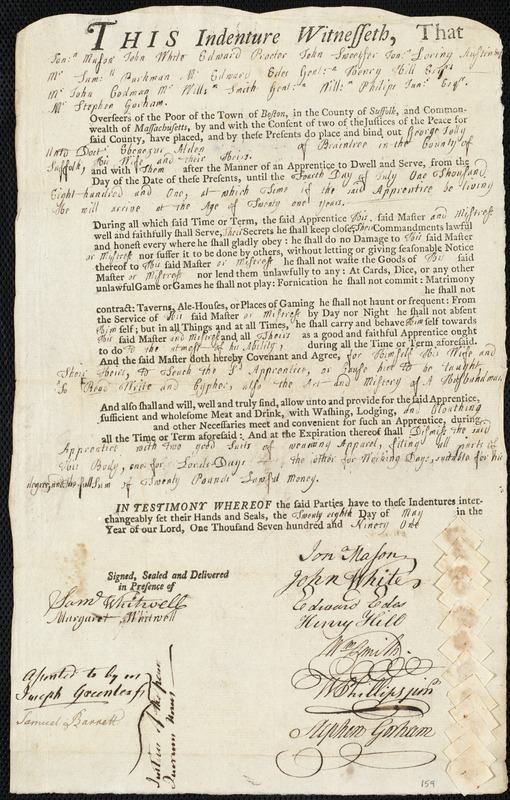 Document of indenture: Servant: Jolly, George. Master: Alden, Ebenezer. Town of Master: Braintree