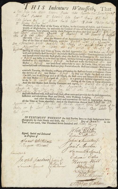 Document of indenture: Servant: Etheridge, Mary. Master: Davies, Jonathan. Town of Master: Roxbury