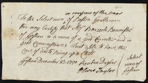 Document of indenture: Servant: Brown, John. Master: Banister, Barzillai. Town of Master: Goshen. Selectmen of the town of Goshen autograph document signed to the Overseers of the Poor of the town of Boston: Endorsement Certificate for Barzillai Banister.