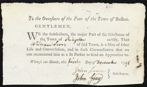 Document of indenture: Servant: Tukesbury, Hannah. Master: Sever, William. Town of Master: Kingston. Selectmen of the town of Kingston autograph document signed to the Overseers of the Poor of the town of Boston: Endorsement Certificate for William Server.
