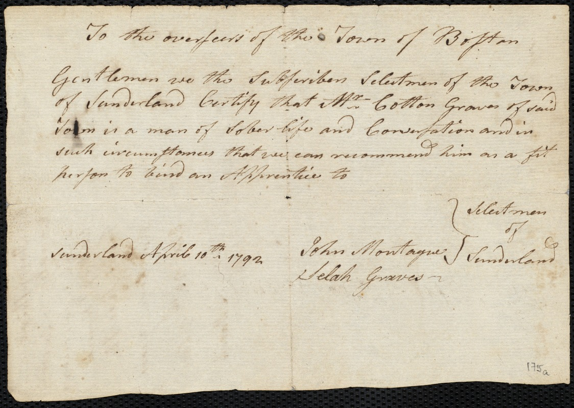 Document of indenture: Servant: Rea, Nancy. Master: Bridge, John. Town of Master: Pownalborough. Selectmen of the town of Pownalborough autograph document signed to the Overseers of the Poor of the town of Boston: Endorsement Certificate for John Bridge.