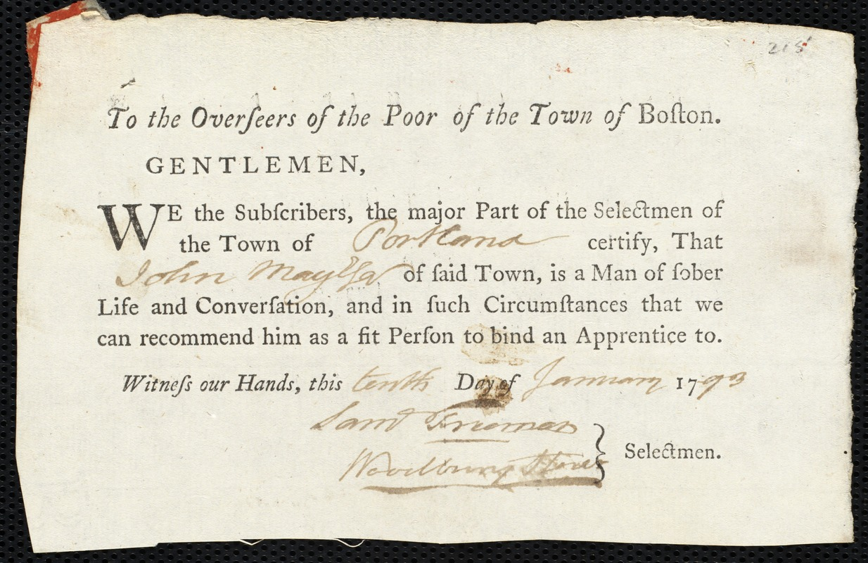 Document of indenture: Servant: Dawson, Roseanah. Master: May, John. Town of Master: Portland. Selectmen of the town of Portland autograph document signed to the Overseers of the Poor of the town of Boston: Endorsement Certificate for John May.