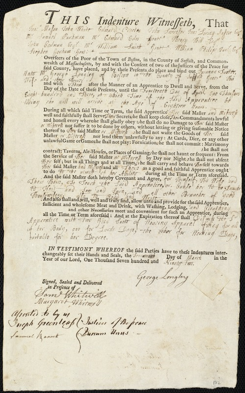 Document of indenture: Servant: Foster, Susanna. Master: Longley, George. Town of Master: Boston