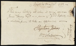 Document of indenture: Servant: Whitmore, Joseph. Master: Avery, James. Town of Master: Machias. Selectmen of the town of Machias autograph document signed to the [Overseers of the Poor of the town of Boston]: Endorsement Certificate for James Avery.