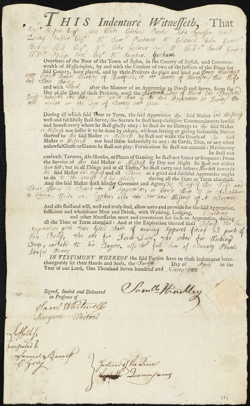 Document of indenture: Servant: Woodman, Henry. Master: Hinckley, Samuel. Town of Master: Brookfield
