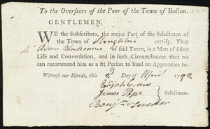 Document of indenture: Servant: Battist, John. Master: Blackman, Adam. Town of Master: Stoughton. Selectmen of the town of Stoughton autograph document signed to the Overseers of the Poor of the town of Boston: Endorsement Certificate for Adam Blackman.