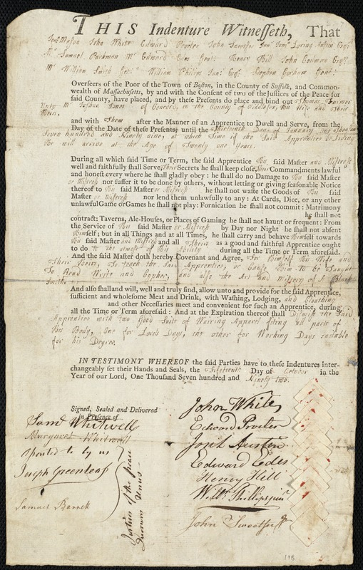 Document of indenture: Servant: Farmer, Thomas. Master: Jones, Joshua. Town of Master: Concord. Selectmen of the town of Concord autograph document signed to Whom It May Concern: Endorsement Certificate for Joshua Jones.