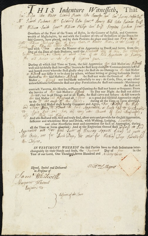 Document of indenture: Servant: Peirce, Mary. Master: Lithgow, William. Town of Master: Georgetown