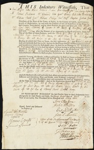 Document of indenture: Servant: Wright, John. Master: Hathway, James. Town of Master: Spencer