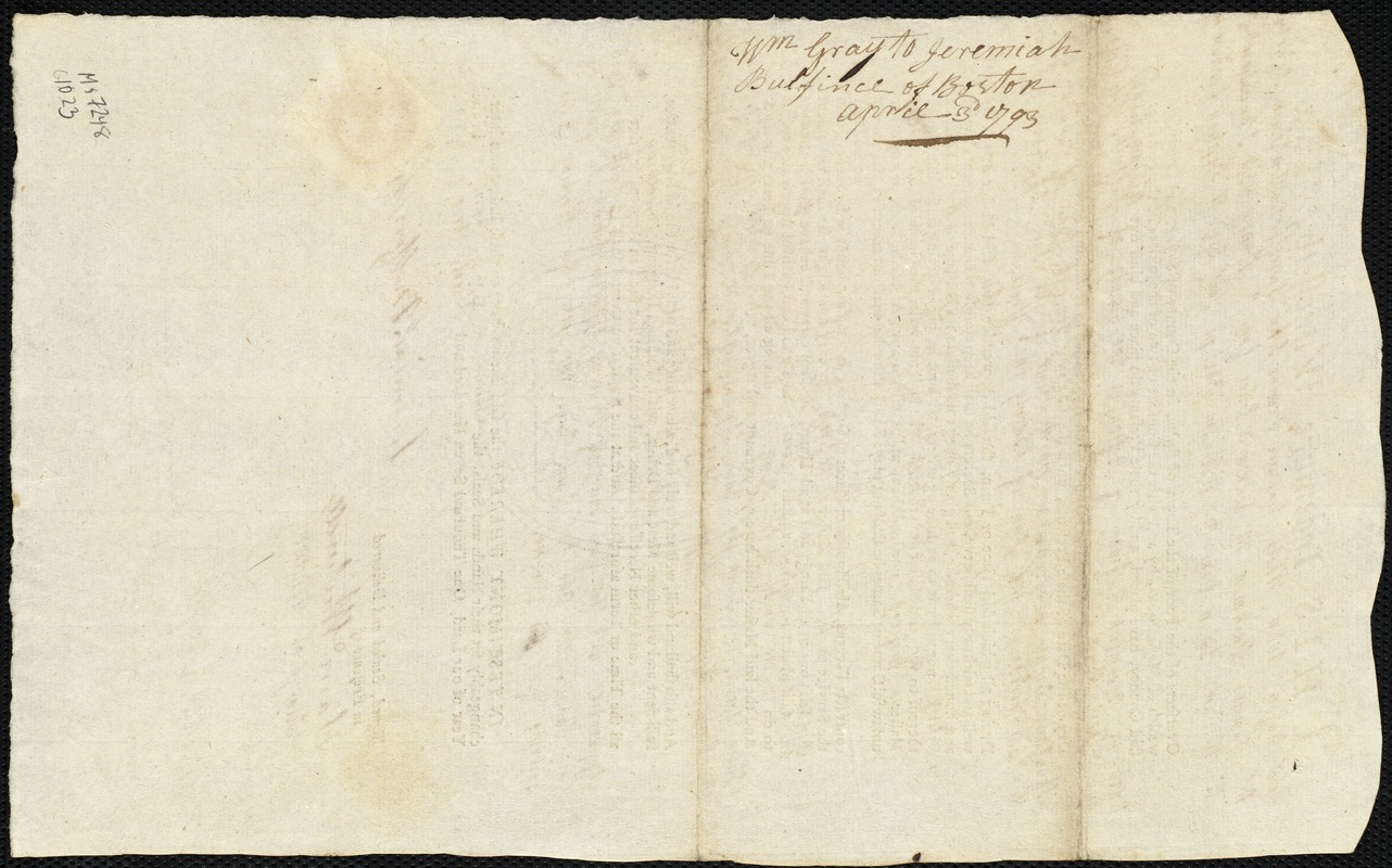 Document of indenture: Servant: Gray, William. Master: Bulfinch, Jeremiah. Town of Master: Boston