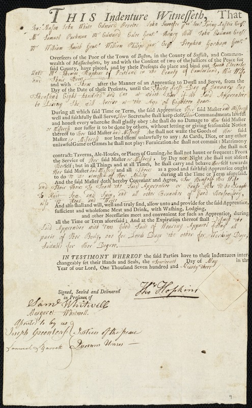 Document of indenture: Servant: Cleverly, Sarah. Master: Hopkins, Thomas. Town of Master: Portland