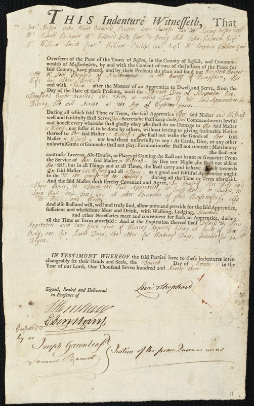 Document of indenture: Servant: Bennet, Elizabeth. Master: Shephard, Levi. Town of Master: Northampton. Selectmen of the town of Northampton autograph document signed to Whom It May Concern: Endorsement Certificate for Levi Shephard.