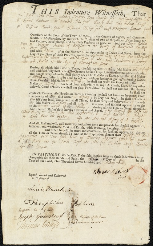 Document of indenture: Servant: Holden, Thomas. Master: Atwood, Eleazer [Elezer] Jr. Town of Master: Wellfleet. Selectmen of the town of Wellfleet.autograph document signed to the Overseers of the Poor of the town of Boston: Endorsement Certificate for Eleazer Atwood.