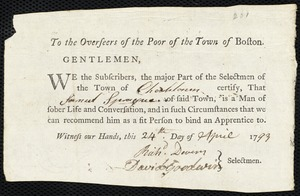 Document of indenture: Servant: Truan, Sophia. Master: Sprague, Samuel. Town of Master: Charlestown. Selectmen of the town of Charlestown autograph document signed to the Overseers of the Poor of the town of Boston: Endorsement Certificate for Samuel Sprague.