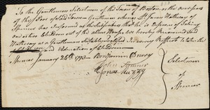 Document of indenture: Servant: Wright, John. Master: Hathway, James. Town of Master: Spencer. Selectmen of the town of Spencer autograph document signed to the Overseers of the Poor of the town of Boston: Endorsement Certificate for James Hathway.