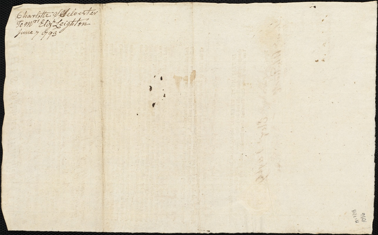 Document of indenture: Servant: Silvester, Charlotte. Master: Leighton [Leighty], Elizabeth. Town of Master: Boston