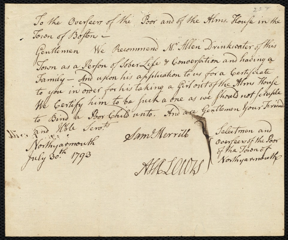 Document of indenture: Servant: Eddy, Eunice. Master: Drinkwater, Allen. Town of Master: North Yarmouth. Selectmen of the town of North Yarmouth autograph document signed to the Overseers of the Poor of the town of Boston: Endorsement Certificate for Allen Drinkwater.