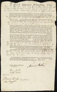 Document of indenture: Servant: Brimmer, Ann. Master: Butler, Francis. Town of Master: Boston
