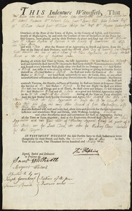 Document of indenture: Servant: Williams, Charlotte. Master: Hopkins, Thomas. Town of Master: Portland