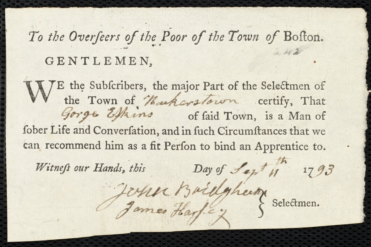 Document of indenture: Servant: Davies, Isaac. Master: Erskin, George. Town of Master: Baker Town. Selectmen of the town of Baker Town [Bakerstown] autograph document signed to the Overseers of the Poor of the town of Boston: Endorsement Certificate for George Erskin.