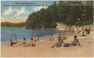 Lake - beach - bath house, Cacapon State Park near Berkeley Springs, W. Va.