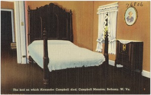The bed on which Alexander Campbell died, Campbell Mansion, Bethany, W. Va.