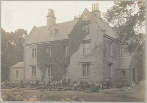 Amos A. Lawrence house during process of being turned 90 [degrees] to face on another St., Ivy St.