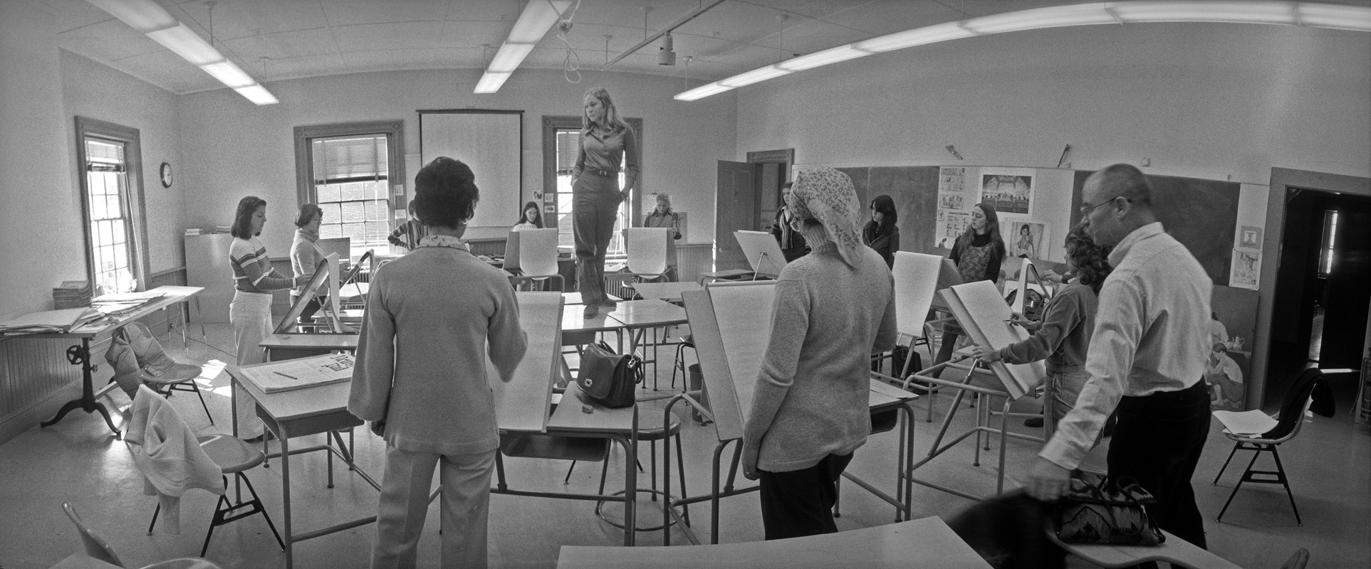 Student poses for life-drawing class, Boston University