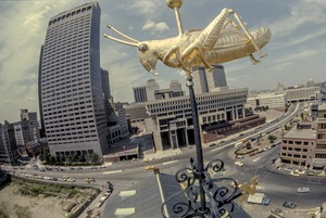 Faneuil Hall grasshopper and City Hall (fisheye view), Boston