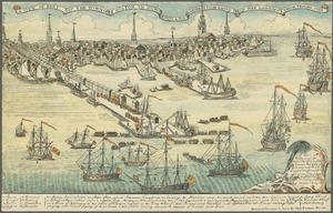 A view of the Town of Boston in New England and British ships of war landing their troops, 1768