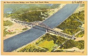 Air view of Bourne Bridge, over Cape Cod Canal, Mass.