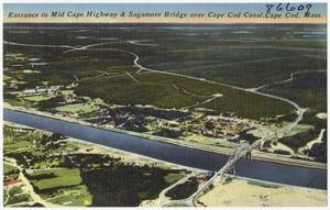 Entrance to Mid Cape Highway & Sagamore Bridge over Cape Cod Canal, Cape Cod, Mass.