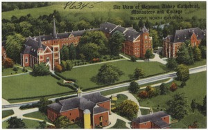 Air view of Belmont Abbey Cathedral, Monastery and College, Belmont, North Carolina