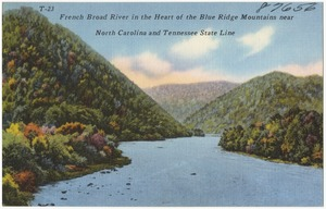 French Broad River in the heart of the Blue Ridge Mountains near North Carolina and Tennessee state line