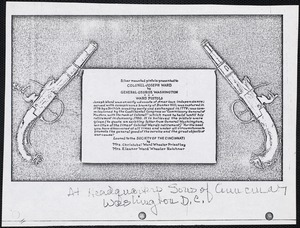 Print describing the loan agreement of two historical pistols owned by Colonel Joseph Ward