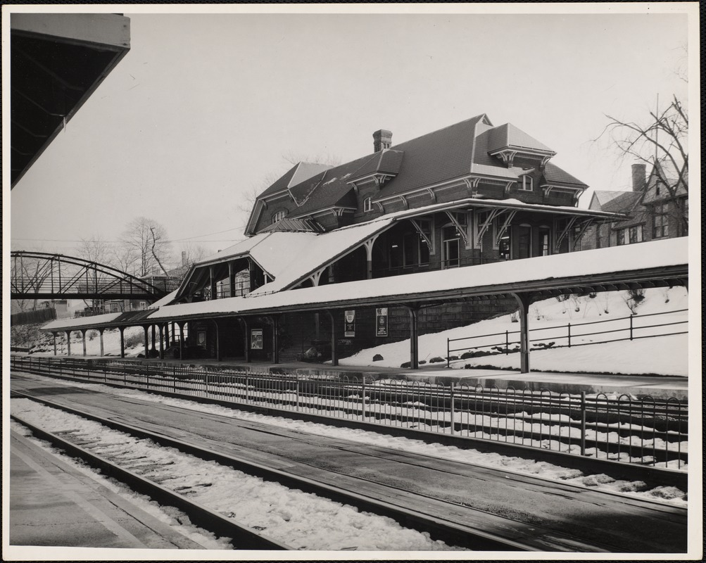 Newtonville Railroad Station. Commuters. Newton, MA