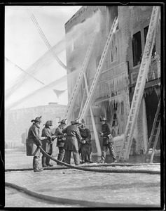 Fire in zero weather - Charlestown. Thomas Getherall - 15 years old - youngest fighter - 35 Mystic St., Charlestown