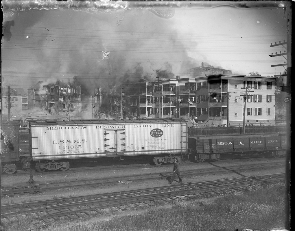 Salem fire at its height, taken from railroad crossing