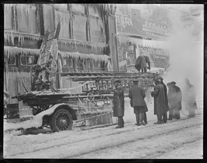 Ladder truck accident in zero weather - Providence R.I.