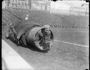 Leslie Jones Graflex in tarp at Fenway