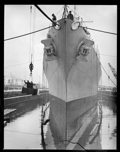 Bow view of USS Portland in Navy Yard drydock